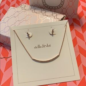 Stella & dot rose gold earrings and necklace.